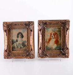 Pair of Framed Dogs Spaniels Oil Painting On Wood in the English School Style