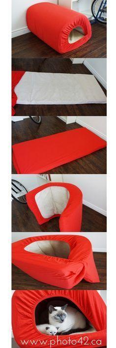 1-minute cat bed, made from Ikea'€™s Len fitted sheet + Ikea's Vyssa Slummer mattress.