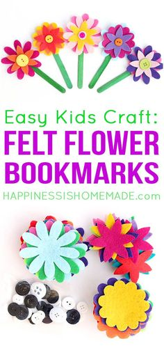 Felt Flower Bookmarks are adorable and super easy to make! A fun quick craft for kids of all ages (and grown-ups too!)! A bouquet of these pretty flower bookmarks would make a great homemade gift idea for Mother's Day, Teacher Appreciation Day, or any holiday, really! via @hiHomemadeBlog
