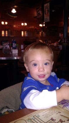 Out to eat right after his 1st Big boy hair cut!!