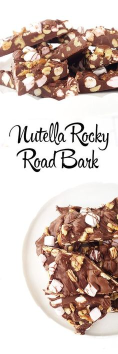 Nutella rocky road bark is the perfect snack or dessert. Melt chocolate and mix in Nutella and stir until combined completely. Add nuts and marshmallows to the mixture. Pour onto a parchment paper lined baking tray and spread evenly. Freeze until firm and break into snack sized chunks.