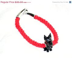 on sale Beaded bracelet with dog Euro beaded center red beads with silver clasp stage prop epsteam