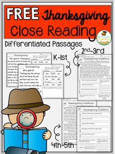 Free Thanksgiving Close Reading K-5   This free download has a variety of reading comprehension passages so you can find something for everyone in your K-5 classrooms! These passages help students with fluency comprehension and finding evidence to prove their answers!Get the download HERE!  2-3 3-5 Close Reading free k-1 Mrs. Thompson's Treasures reading comprehension text evidence Thanksgiving