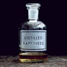 distilled happiness etched apothecary bottle | [vinegar and brown paper]®