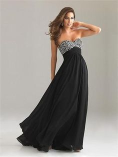 Sweetheart Column Open Back Black With Sequins Prom Dress PD0499