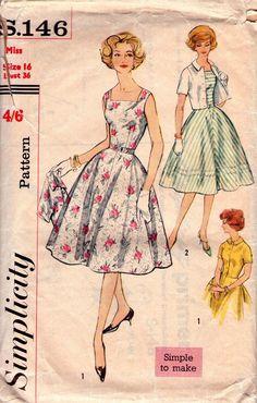 1950s Vintage pattern - Full-Skirted Dress Bolero Jacket