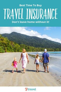 Want to know when the best time to buy travel insurance is in your vacation planning? See blog post for tips on the best time and the worst time to buy! Work the cost of travel insurance into your travel budget, especially for a family vacation with kids, it isn't worth the risk not to have it.  Don't leave home on your trip without insurance, it's the best peace of mind for your travels you can buy! #travel #travelinsurance #vacation #familytravel #traveling #traveltips