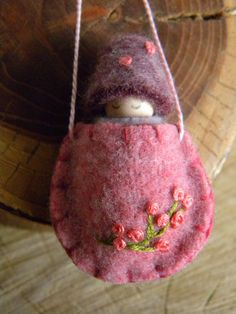 Waldorf Toadstool Baby Necklace, Waldorf Baby, Wearable Doll, Winter, Pink, Purple, lavender, peach, Upcycled wool felt