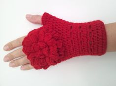 Red Fingerless Mittens with Flower Gloves Mittens by kyonca, $29.00