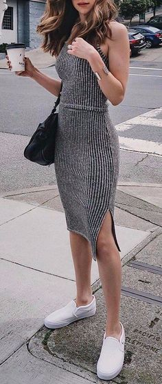 #summer #outfits / gray knit dress