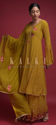 Mustard Yellow Palazzo Suit In Georgette With Thread Embroidered Butterfly Motifs Online - Kalki Fashion Indian Suits, Indian Dresses, Indian Wear, A Line Kurti, Palazzo Suit, Kurti Patterns, Bridal Lehenga, Lace Design, Mustard Yellow