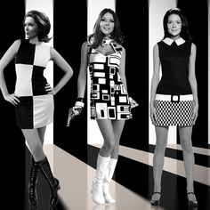 Retro Fashion Diana Rigg - Three of my Emma Peel creations - Emma Peel, Style Année 60, Looks Style, Mode Style, Vintage Chic, Looks Vintage, 60s And 70s Fashion, Vintage Fashion, 1960s Fashion Women