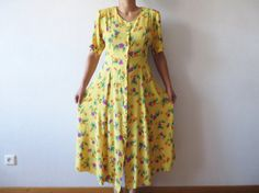 Vintage 80s Yellow Floral Print Wrinkle Dress Button up Short Sleeve Tied at the…