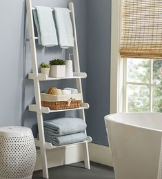 Low Bathroom Shelves - This is a glorious thing when they're speaking about statue out additional toilet storage with shelvin Cabinet Shelving, Bathroom Storage Shelves, Toilet Storage, Storage Spaces, Bathroom Ladder Shelf, Storage Ideas, Bathroom Standing Shelf, Organization Ideas, Ladder Shelves