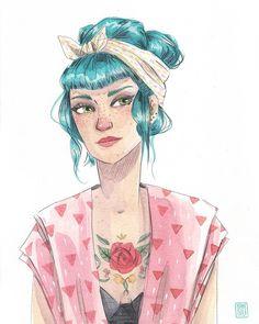 Art And Illustration, People Illustration, Pretty Art, Cute Art, Rockabilly Art, Devian Art, Fanarts Anime, Cover Tattoo, Whimsical Art