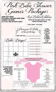 Pink French Baby Shower Game Package in Pink - DIY Printables -3 Shower Games & 1 Activity Sheet for Little Guests on Etsy, $12.50