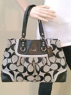 NWT COACH ASHLEY SPECTATOR BLACK GRAY SIGNATURE TOTE CARRYALL BAG PURSE 17446