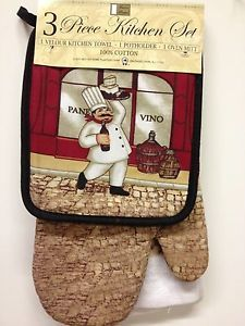 100% Cotton Oven Mitt, Potholder, Dish Towel Set for $11.95 Patterns available include: Apples, Grapes, Floral, Wine, Rooster #Kitchen #eBay  #JessCrateOutlet #CookingAccessories #Linens