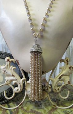 Repurposed Vintage Pearl Tassel Art Deco by RomanceandRuin on Etsy