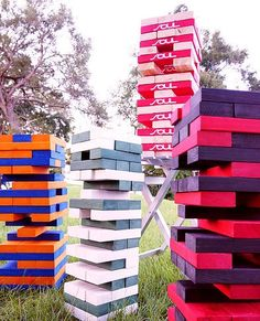 Wedding ideas summer outdoor giant jenga New Ideas Yard Wedding, Summer Wedding, Wedding Day, Dream Wedding, Lawn Games, Backyard Games, Tower Games, Bbq Party, Yard Party