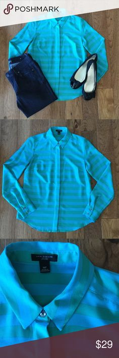 Ann Taylor Striped Blouse LIKE NEW Button up green and blue button up blouse. Looks great paired with a big statement necklace. Ann Taylor Tops Blouses