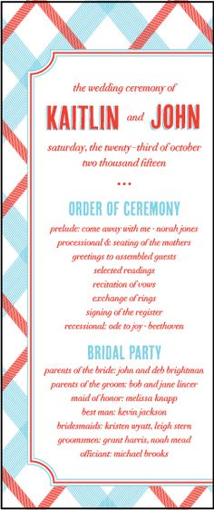 Letterpress Wedding Program panels | Refined Newport Design