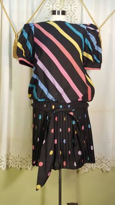 1980s Party Dress, Striped, Polka Dots, Pleated Skirt, 80's Party Dress by GroovyDoozyVintage on Etsy