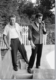 Vernon and Elvis Presley at home in Memphis on July 4, 1956