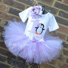 Lilac Penguin Themed Winter ONEderland Birthday Tutu Outfit, Penguin Birthday Outfit, Winter Wonderland Party, Purple Penguin Party, Penguin Tutu