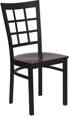 HERCULES Series Black Window Back Metal Restaurant Chair with Mahogany Wood Seat XU-DG6Q3BWIN-MAHW-GG by Flash Furniture