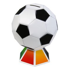 Football Money Box Papercraft - by Canon - Cofrinho De Futebol - A nice safe bank to put your coins, by Japanese site Canon. 3d Paper Crafts, Paper Toys, Diy Paper, Penalty Kick Game, Box Templates Printable Free, Free Printables, Cool Calendars, Money Box, Soccer Ball