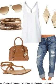 2018 SPRING & SUMMER FASHION TRENDS! Ask your Stitch Fix stylist to send you items like this.#StitchFix #sponsored Simple clean & Fresh looking white, denim, camel & gold