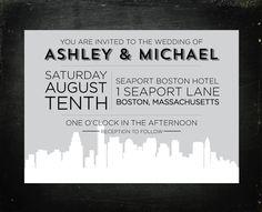 Boston, Massachusetts Wedding Invitations - Modern Skyline Set of 20. $43.00, via Etsy.    JamAndToastWeddings has skylines for dozens of cities!