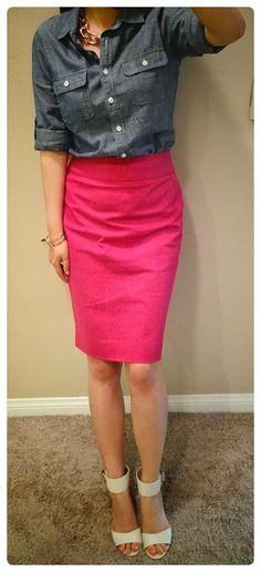 Hot Pink Skirt w/ denim button down shirt...shoes are ugly but the rest is great