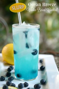 This beachy Ocean Breeze Vodka Cocktail is made with vodka, fresh lemon juice, and Blue Curacao served over ice and garnished with fresh blueberries.