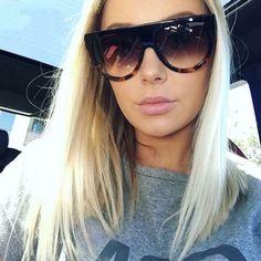 9a69b06b73f6 Lady Flat top Oversized Sunglasses Women Retro Female Big Frames UV400 Cat  Eye Sunglass Electroplated Rivet