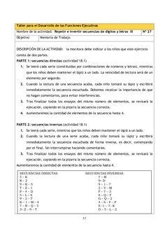 57 Taller para el Desarrollo de las Funciones Ejecutivas Nombre de la actividad: Repetir e invertir secuencias de dígitos ...