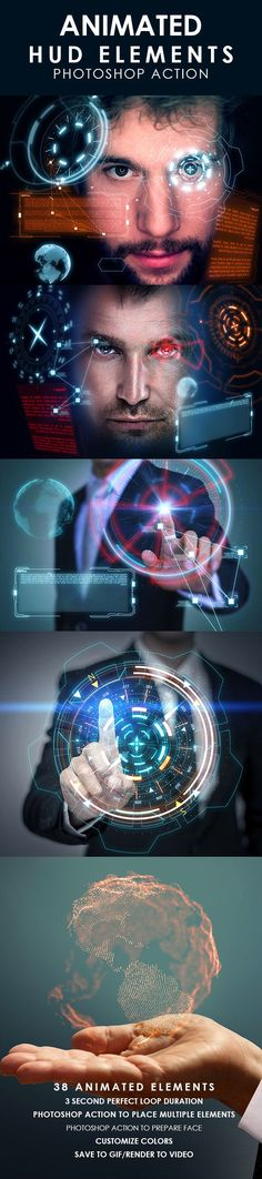 Animated HUD Elements #Photoshop Action - #Photo Effects #Actions Download here: https://graphicriver.net/item/animated-hud-elements-photoshop-action/19746876?ref=alena994