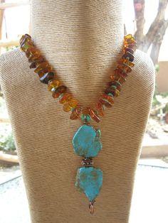 Golden Baltic Polish Amber 'Gintaras' Turquoise by lalunaranchwear, $179.00