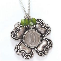 Irish Threepence Four Leaf Clover and Green Heart Pendant