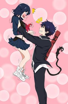 While everyone else have left to attend some errands in the other worlds, Ryuko Matoi and Rin Okumura are left behind, wondering what to do. ROAD TO REMNANT! Ryuko Matoi X Rin Okumura Art Manga, Anime Couples Manga, Chica Anime Manga, Rin Okumura, Kawaii Anime Girl, Anime Art Girl, Cute Anime Character, Character Art, Blue Exorcist Anime