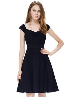Bawełna Stałe Cap Sleeve Powyżej kolan sukienki na co dzień