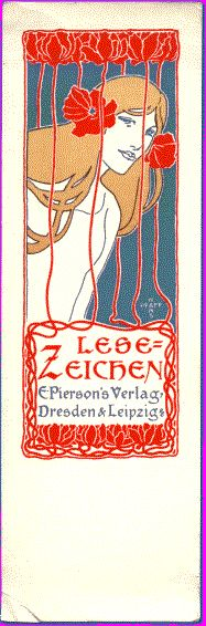 Art Nouveau Bookmark / E. PIERSON'S VERLAG publishers | Dresden | 1898 / illustration by Hans Pfaff