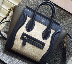 Celine Luggage Nano Tote Bag in Original Leather Black Grained White Etoupe  2016 Celine b18bc18cc180d