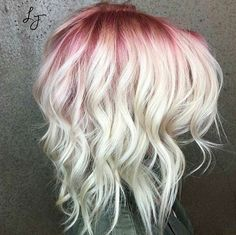 Beautiful hot pink hair color ideas to makes you looks stunning 60 Blonde Hair With Roots, Pink Blonde Hair, Platinum Blonde Hair, Ombre Hair, Blonde Hair With Color, Brunette Color, Lilac Hair, Rose Hair, Gray Hair