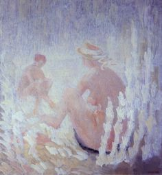 Vittorio Viviani, Nude Women on a beach, oil on canvas, 130x120cm, 1976.