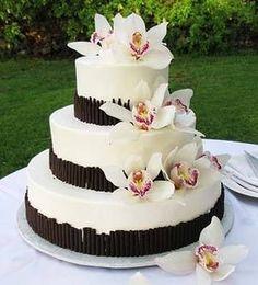 Idea de pastel con orquídeas