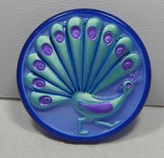 Peacock Tail Czech Glass Button by MostlyButtons on Etsy