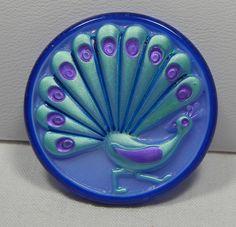 Peacock Tail Czech Glass Button