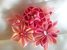 3 tone Pink Kanzashi Flower  Can be attached to by RosesBowses, $9.00